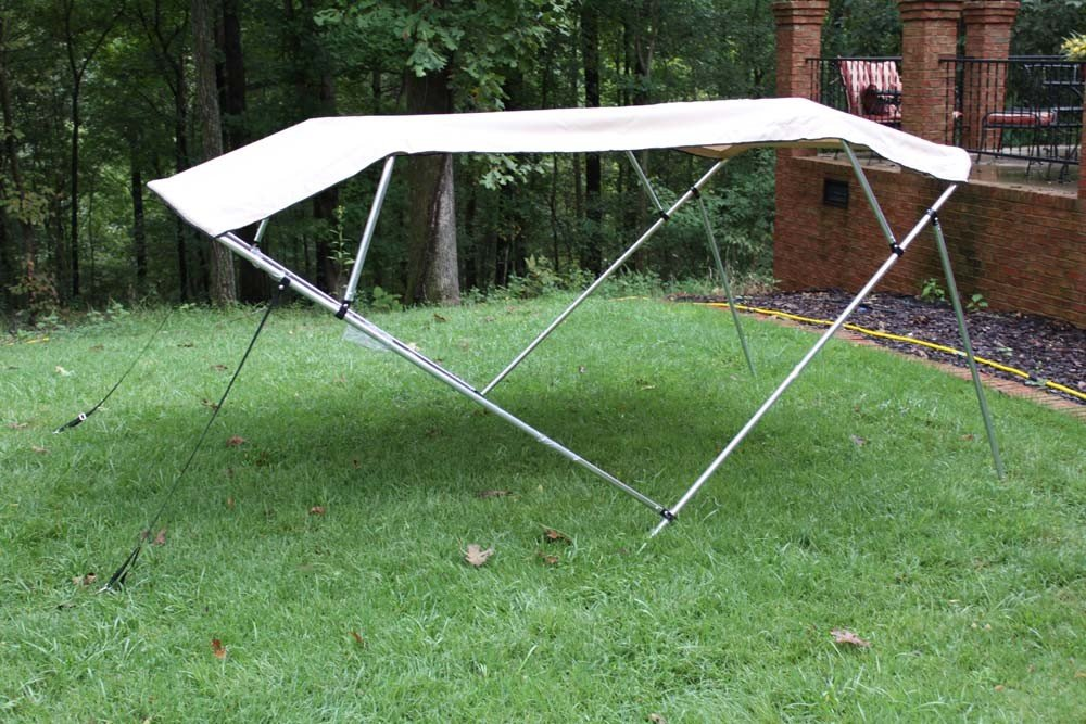 New Beige/Tan Pontoon / Deck Boat Vortex 4 Bow Bimini Top 10' Long, 91-96'' Wide, 54'' High, Complete Kit, Frame, Canopy, and Hardware (FAST SHIPPING - 1 TO 4 BUSINESS DAY DELIVERY)