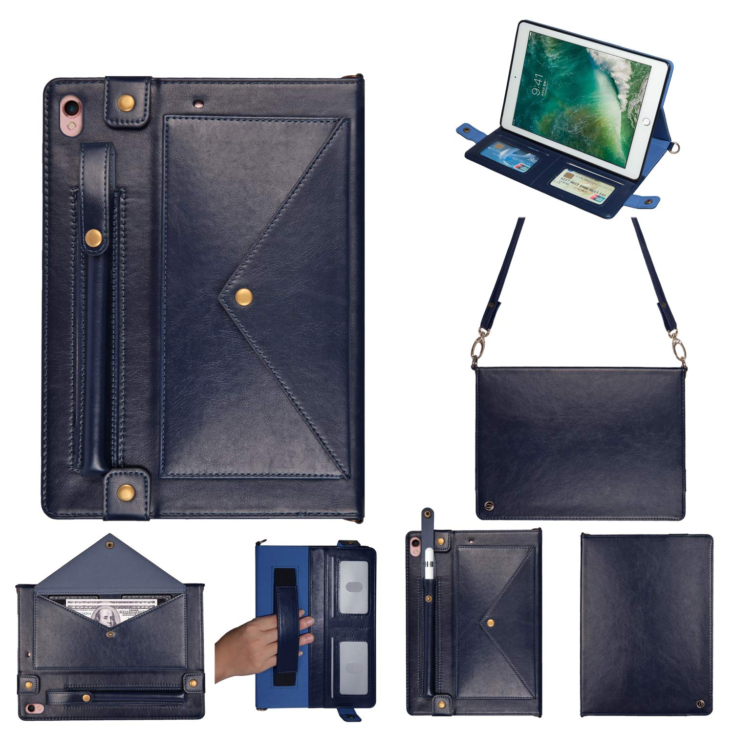 MeiLiio for iPad Pro 10.5''Wallet Case Wallet File Folio Pocket PU Leather Hangbag Shell with Hand Strap Magnetic Stand Multi Function Sleeve Protective Cover for iPad Air 3 Women&Girl (Dark Blue) by MeiLiio