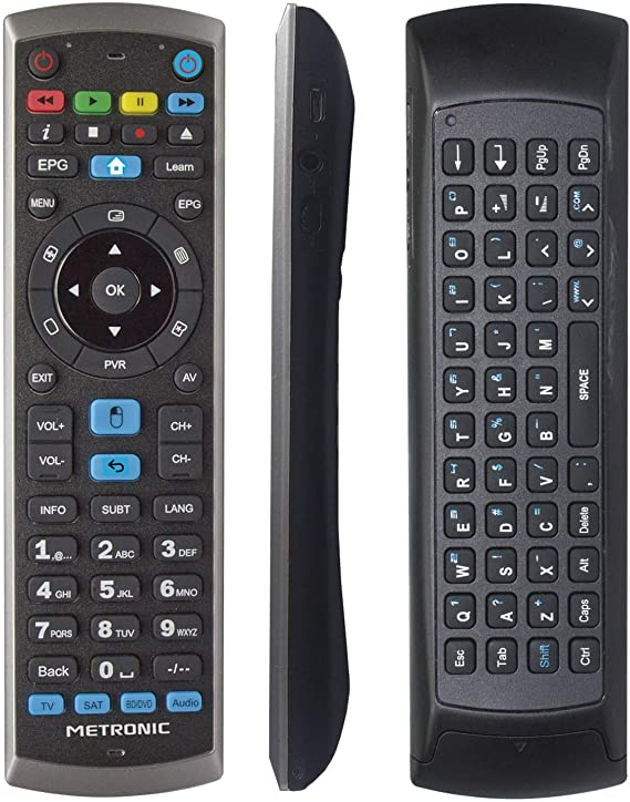 Metronic 441268 - Mando a distancia universal para PC, giroscópico, air mouse, con teclado QWERTY, receptor RF USB para Smart TV Android - incluye smart TV Android: Amazon.es: Informática