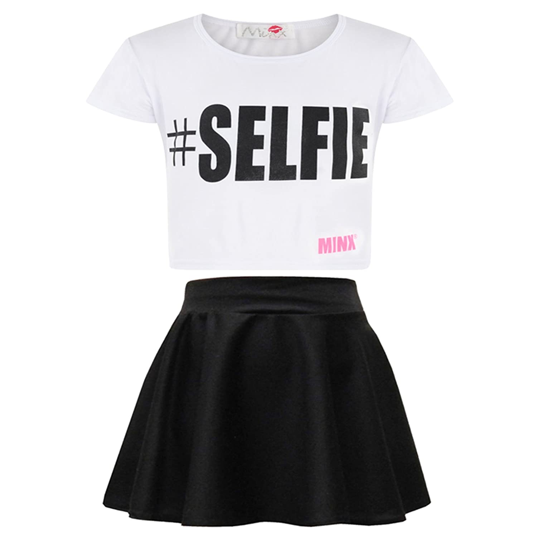 Kids Girls Love Graffiti Scribble Print Crop Top /& Black Skater Skirt Set Age 7 8 9 10 11 12 13 Years