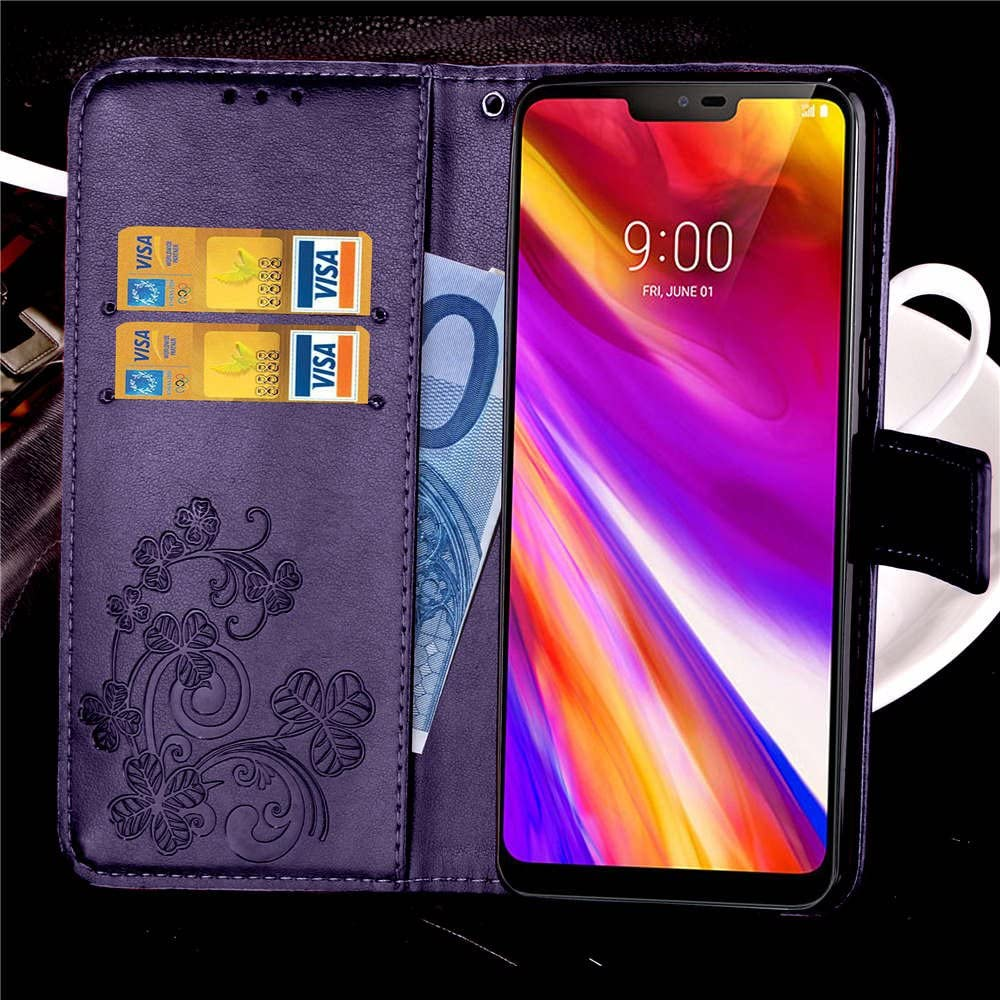 6.1 inch LG G7 // LG G7 ThinQ Wallet Case Leather COTDINFORCA Premium PU Embossed Design Magnetic Closure Protective Cover with Card Slots for LG G7 2018 Luck Clover Black