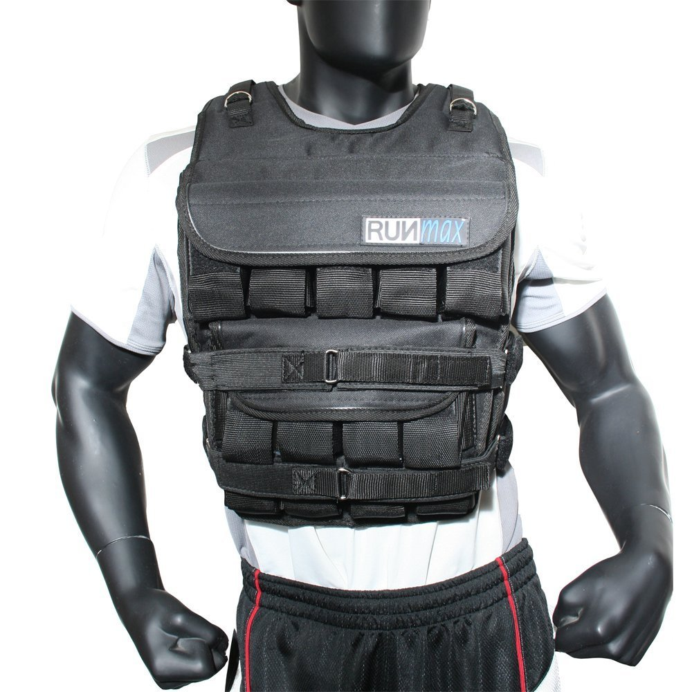 RUNmax Adjustable Weighted Vest with Phone Pocket Water Bottle Holder