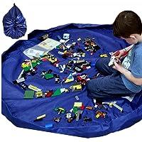PUBAMALL Bolsa de almacenamiento para juguetes y juguetes para niños, ideal para guardar juguetes pequeños y medianos. (Azul)