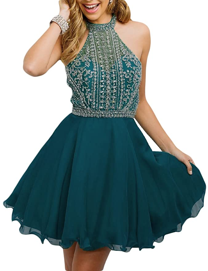 a2643a8f4ac Amazon.com  OYISHA Women s Short Tulle Halter Prom Homecoming Dress Beaded  A-Line Cocktail Party Dress 79HC  Clothing