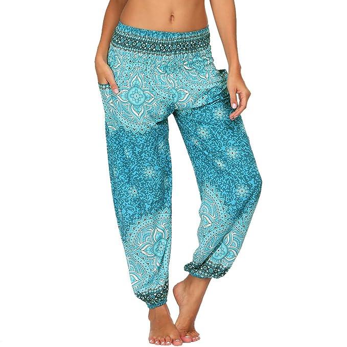 Nuofengkudu Mujer Haren Hippies Yoga Pantalones Sueltos con ...