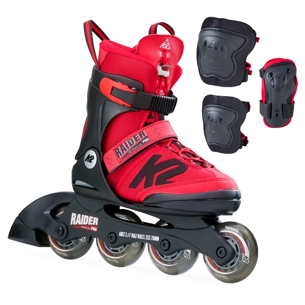 K2 Skate Raider Pro Pack, Red, 4-8