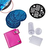 Biutee model nail printed template Nail Art Stamping Kit with Scraping Knife Set with Stamping Plates Storage Bag(color by Random)
