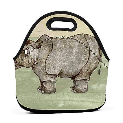 Amazon com - LKJDAD Funny Rhino Lunch Bag, Thick Insulated
