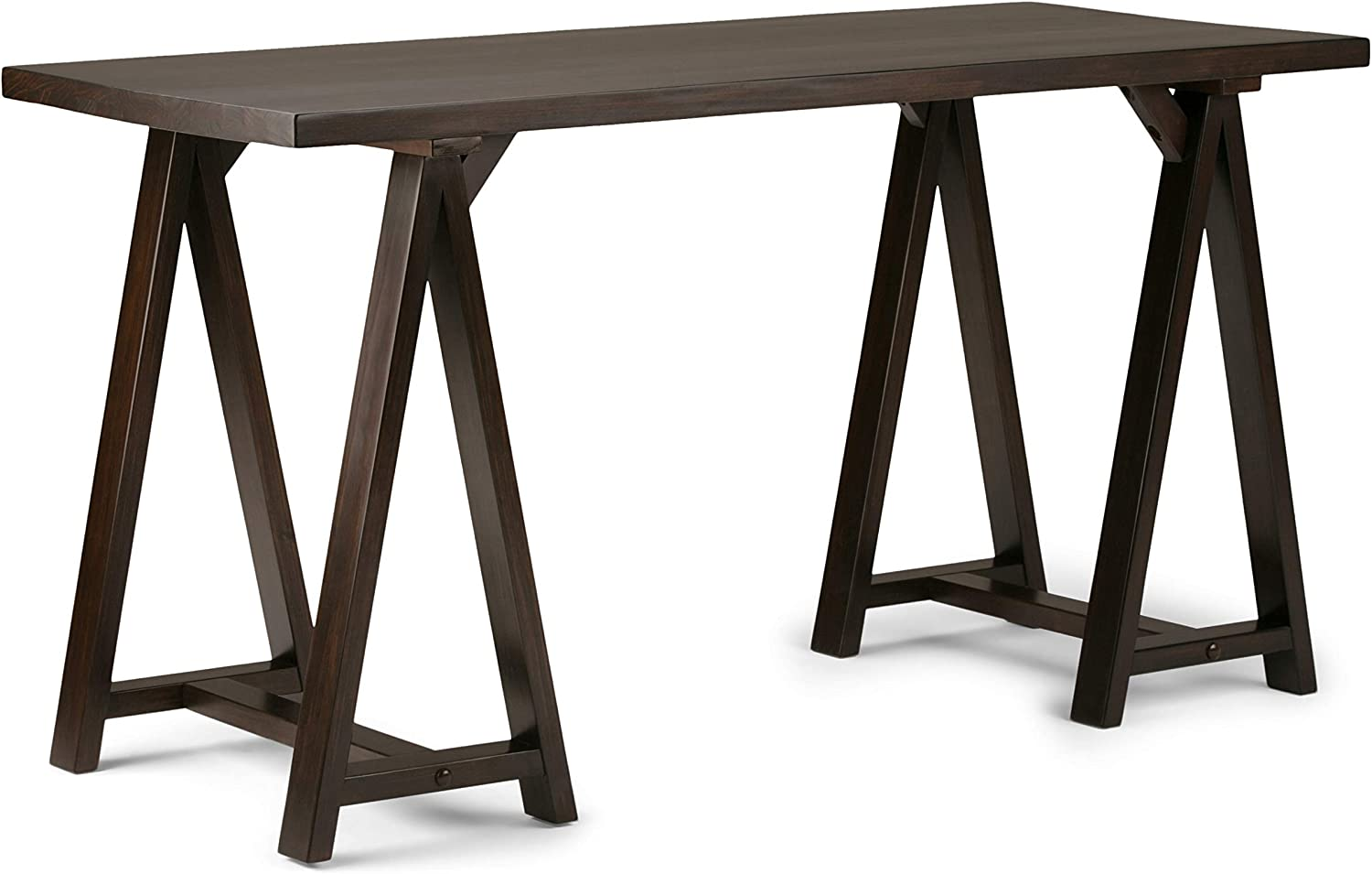 SIMPLIHOME Sawhorse SOLID WOOD Industrial Contemporary 56 inch Wide Home Office Desk, Writing Table, Workstation, Study Table Furniture in Dark Chestnut Brown