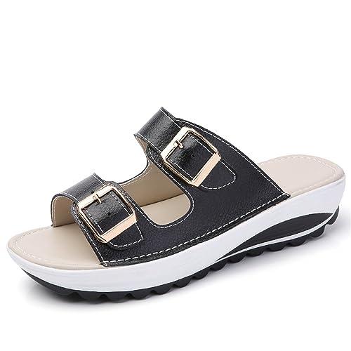 Feilongzaitianba Summer Women Flat Sandals Shoes Leisure Slippers Slip-On Round Toe Comfortable Sandals Flip
