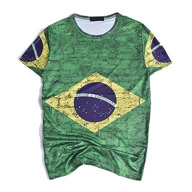 287cbdce2 ENVMENST Brazil Football Jersey 2018 World Cup Brazil Flag Soccer Fan 3D  Print Tee (M