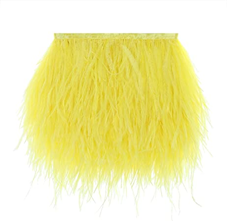 Turkey Feathers Trims Fringe with Satin Ribbon Tape for Dress Sewing Crafts Costumes Decoration Pack of 2 Yards Yellow
