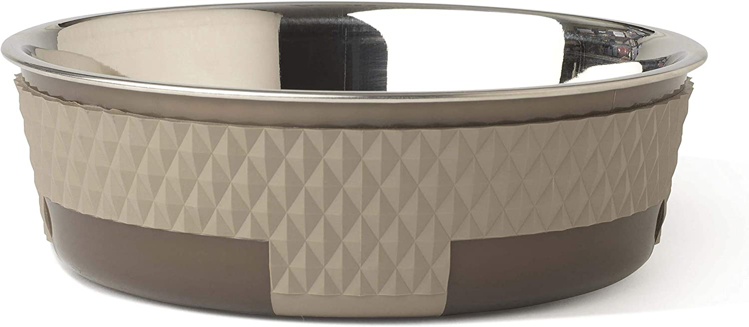 PetRageous 16017 Kona Stainless-Steel Non-Slip Dishwasher Safe Bowl 6.5-Cup 8.5-Inch Diameter 2.75-Inch Tall for Large and Extra Large Dogs and Cats, Taupe
