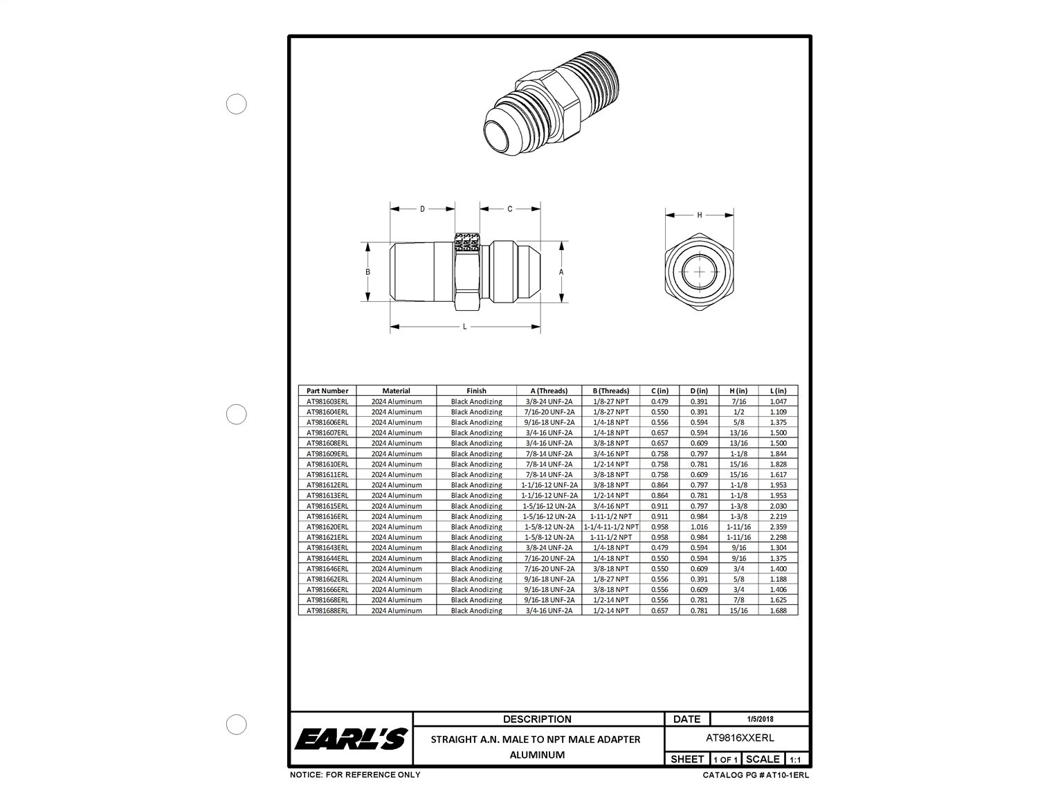 Earls AT981603ERL Ano-Tuff Adapter Earls Plumbing