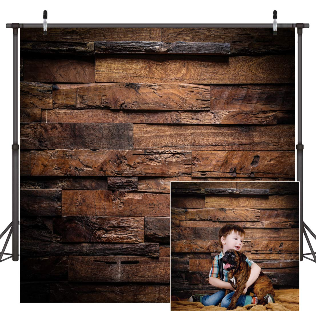 CYLYH 10x10ft Photography Backdrop Brown Wood 3D Backdrops for Picture Customized Vinyl Photo Background D104 by CYLYH (Image #2)