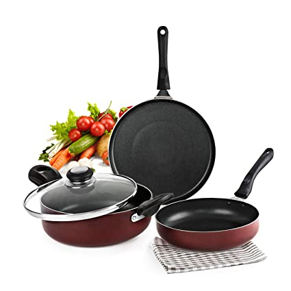 Cello Prima Induction Base Non-Stick Aluminium Cookware Set, 3-Pieces, Cherry