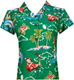 Hawaiian Shirt Womens Christmas Santa Claus Top Blouse Party Aloha Holiday Beach