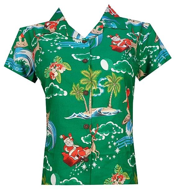 Christmas Hawaiian Shirt Womens.Hawaiian Shirt Womens Christmas Santa Claus Party Aloha