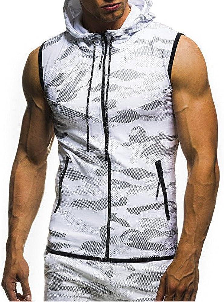 Sumen Summer Clothing Mens Gym Fitness Mesh Hoodie Sleeveless T-Shirt Muscle Tank Top