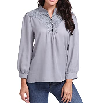 Clearance!Youngh Womens Blouses Plus Size Solid Elegant Lace Patchwork V-Neck Loose Long