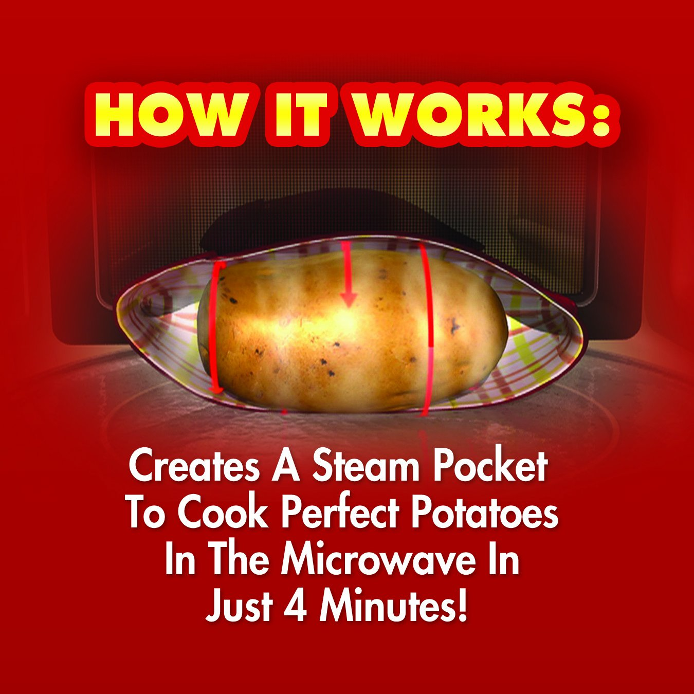 Amazon: Potato Express Microwave Potato Cooker, Perfect Potatoes In  Just 4 Minutes!  As Seen On Tv: Home Decor Products: Kitchen & Dining