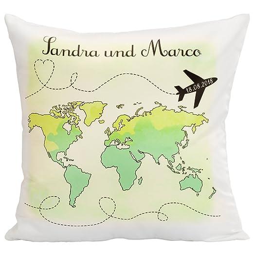 Cojín de viaje de boda con mapa del mundo para la pareja de ...