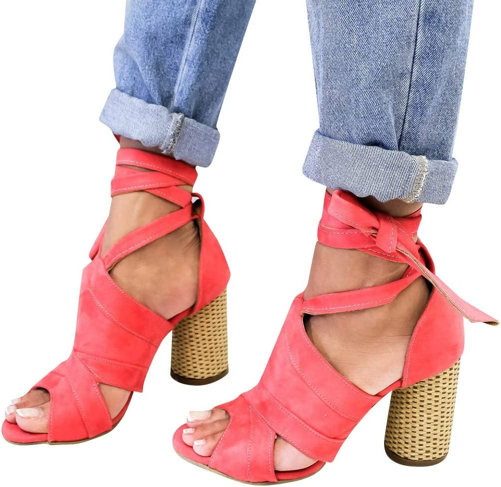Swiusd Womens Stiletto Comfy Hollow Lace Up Roman Sandals Retro Pointed Toe Fish Mouth Sandals Beach Dresses Shoes Clearance