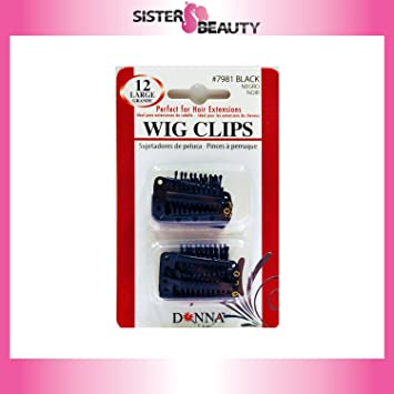 Amazon.com : Donna 12 Piece Large Black Wig Clips : Hair Extensions : Beauty