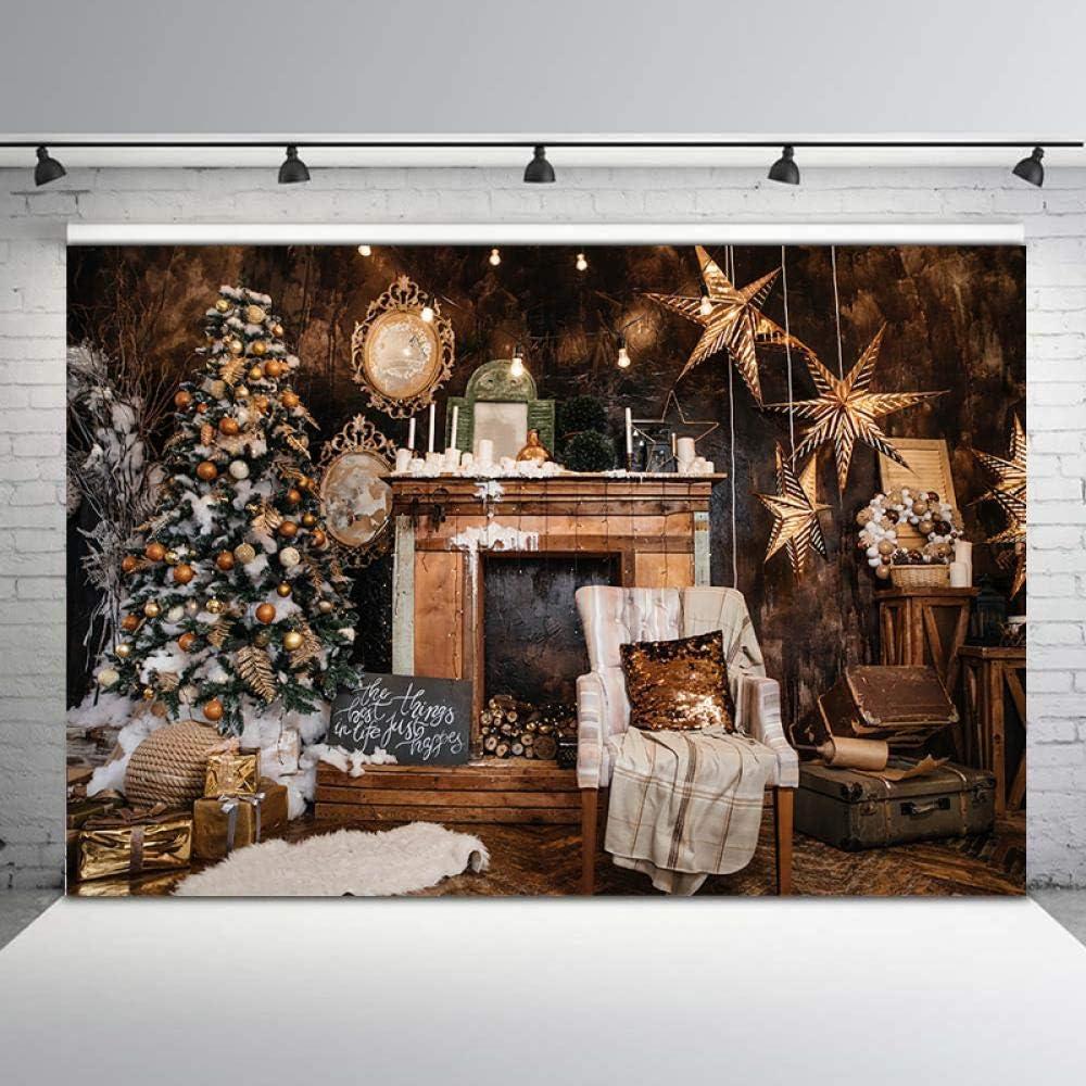 Tabla de Fondo Árbol de Navidad Retro Vintage Estufa de Pared de Madera Photobooth Studio Navidad Fotografía de Fondo Ideas de telón de Fondo de fotomatón Tabla de Fondo Telones de Fondo de