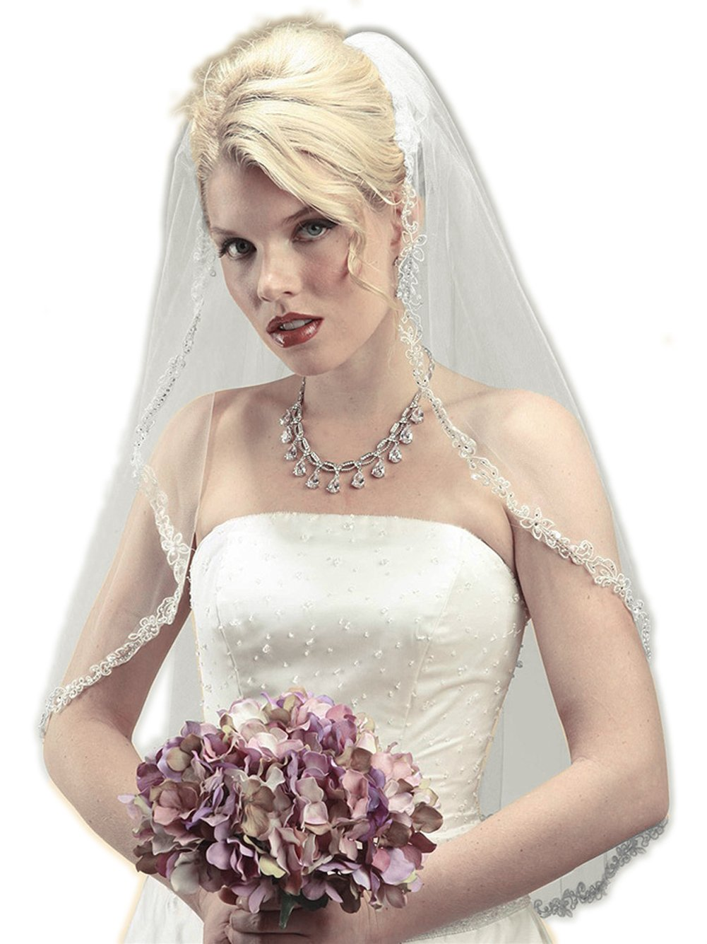Mariell Women's Rhinestone Edge Mantilla Wedding Veil with Floral Applique - Ivory