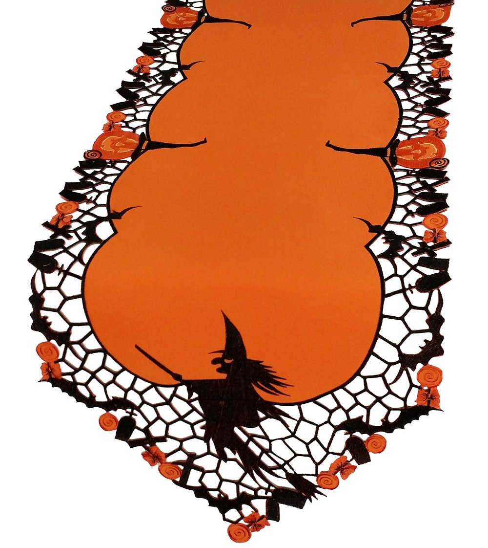 Xia Home Fashions Witch Embroidered Cutwork Halloween Table Runner, 15 by 70''