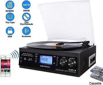 DIGITNOW! Tocadiscos Bluetooth de 3 velocidades con y Altavoces ...
