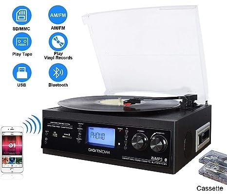 DIGITNOW! Tocadiscos Bluetooth de 3 velocidades con y Altavoces estéreos incorporados, Radio AM/FM, Cinta de casete, Entrada auxiliar, Grabación por ...