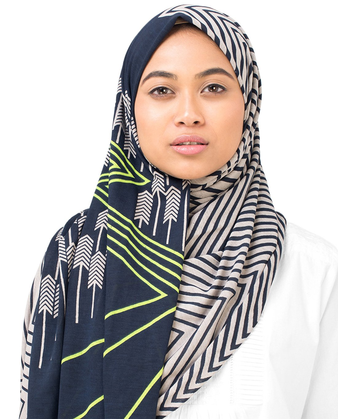 Silk Route New Wind Chime & Medieval Blue Ziz Zag Viscose Jersey Stole Scarf Ladies Wrap Hijab Regular Size