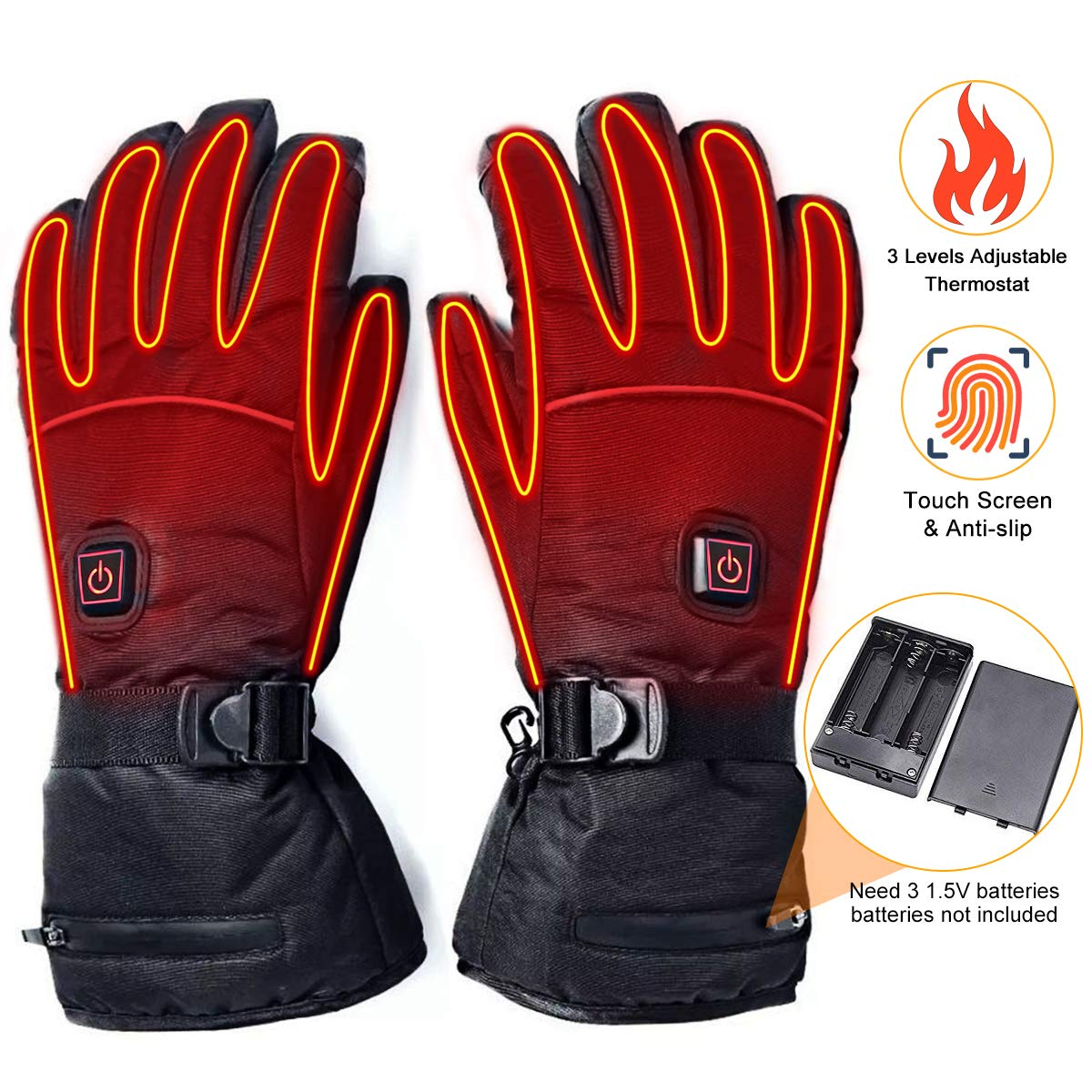 upstartech Heated Gloves for Men Women Rechargeable Upgraded Electric Heated Gloves with 3 Levels Temperature Control Touchscreen Hand Warmer Gloves for Skiing Fishing Hiking Camping (Battery Box)