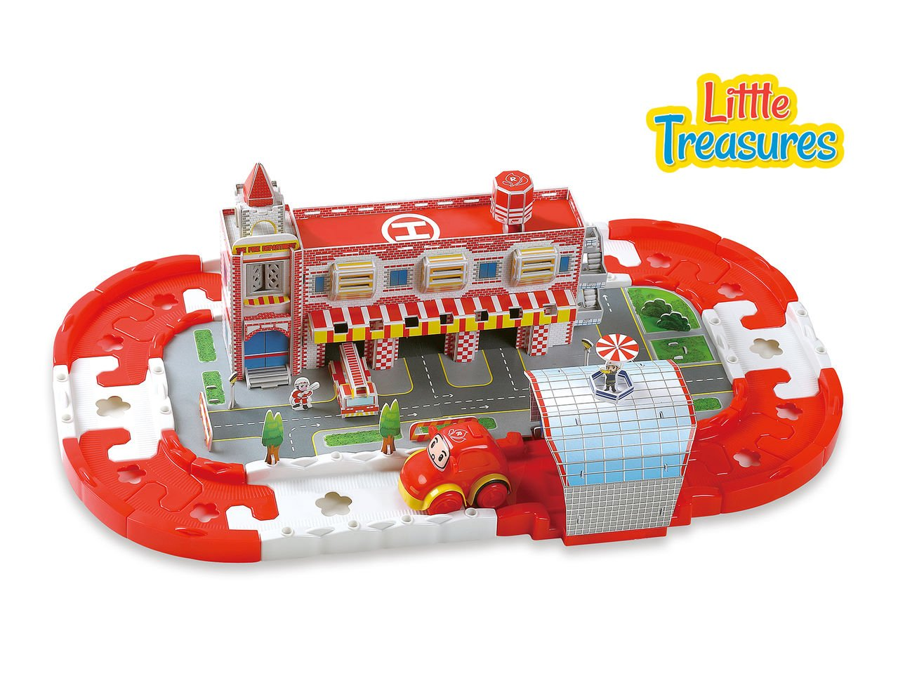 Suitable for Girls and Boys 18 months Little Treasures Kids Fire Station tracks Set Building Block Track Educational motor skills interlocking toy to help your child with assembly with Cars