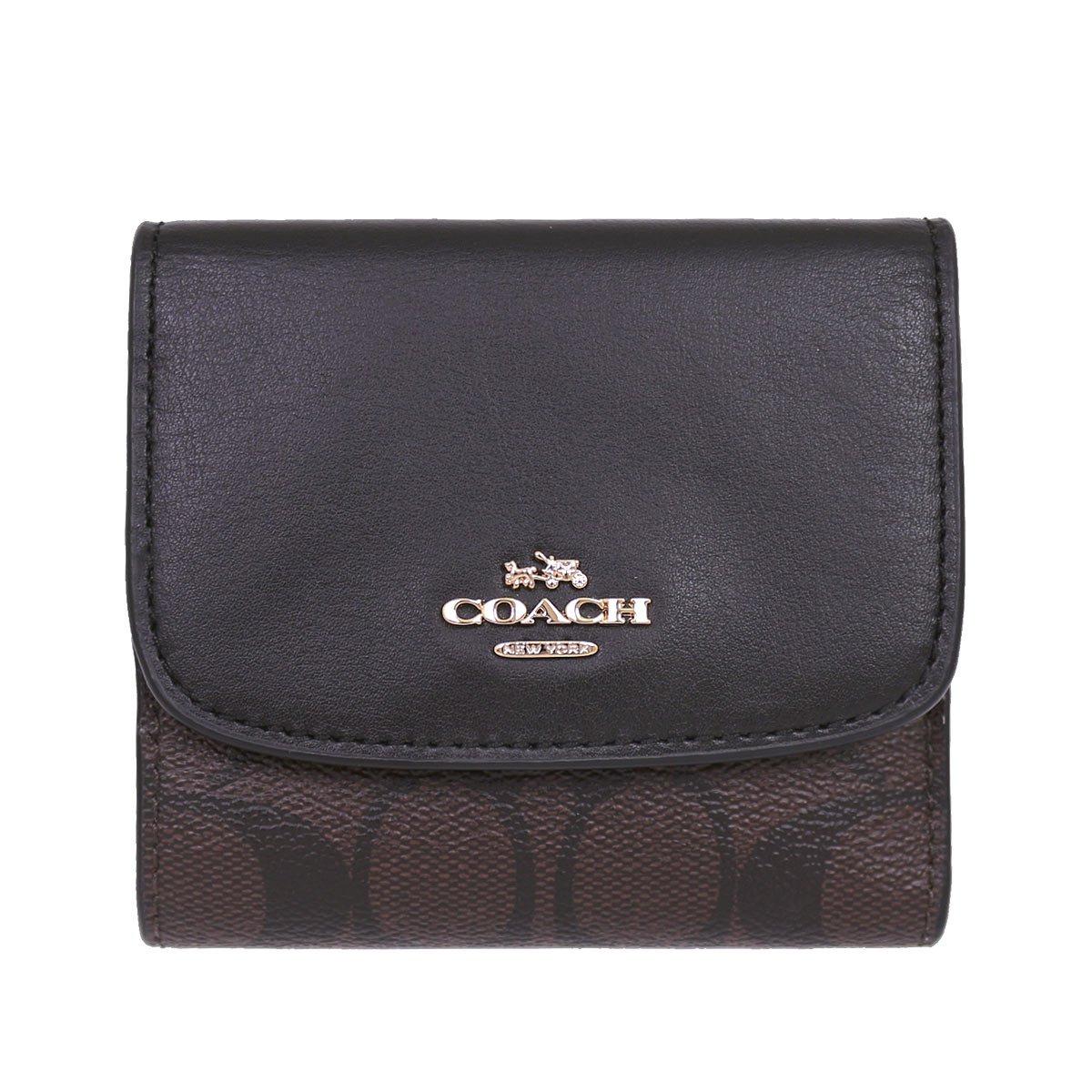 [コーチ] COACH 財布 (三つ折り財布) F87589 シグネチャー 三つ折り財布 レディース [アウトレット品] [並行輸入品] B07CQLDQ4D ブラウン/ブラック ブラウン/ブラック