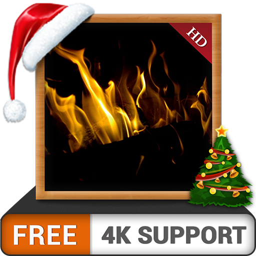 Dark Fireplace HD FREE - Enjoy the winter Christmas holidays with hot romantic fireplace on your HDR 4K TV and fire devices as a wallpaper & theme for mediation & peace (Christmas Motion Background)