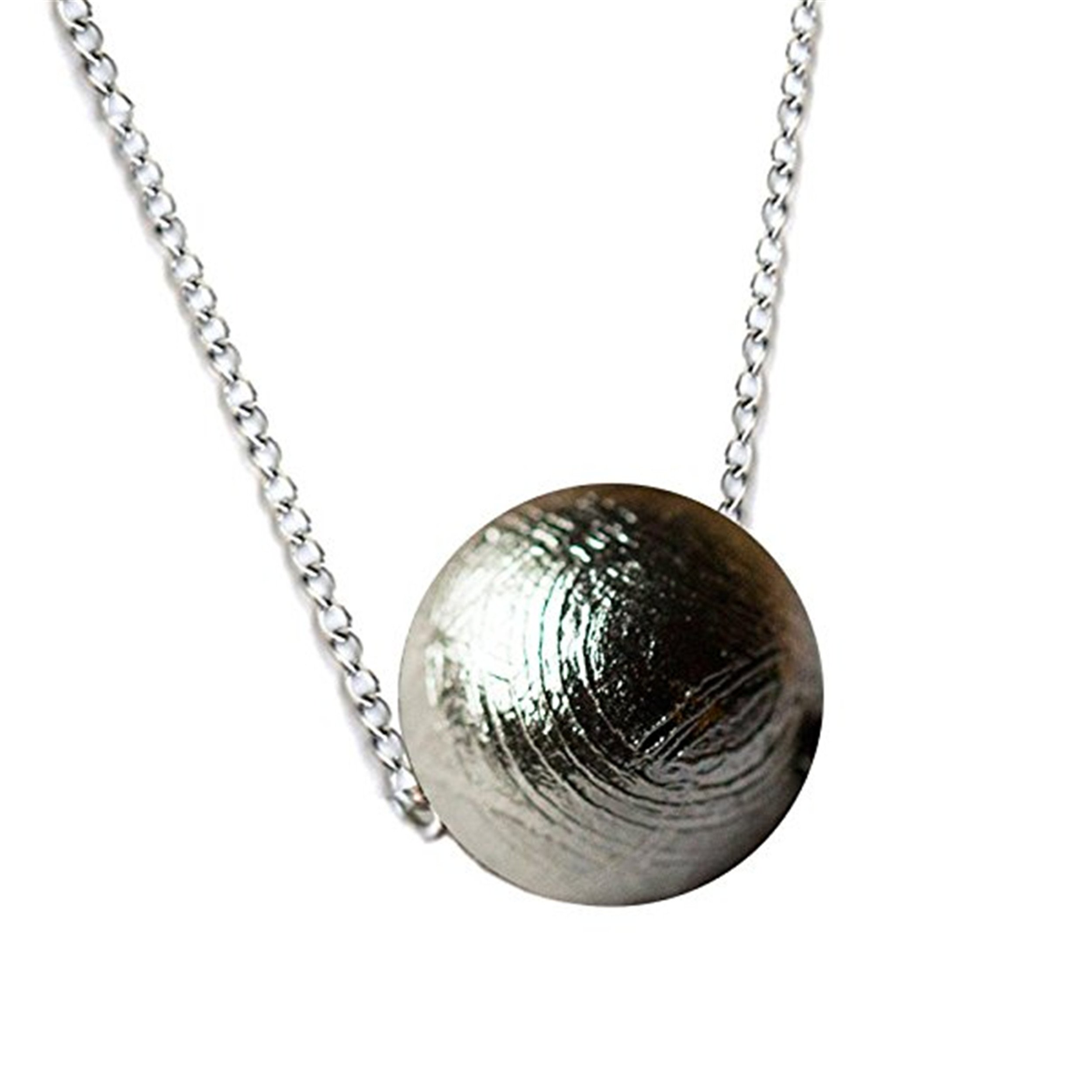 LiZiFang Genuine Natural Gibeon Meteorite Silver Plated Jewelry Round Bead Pendant