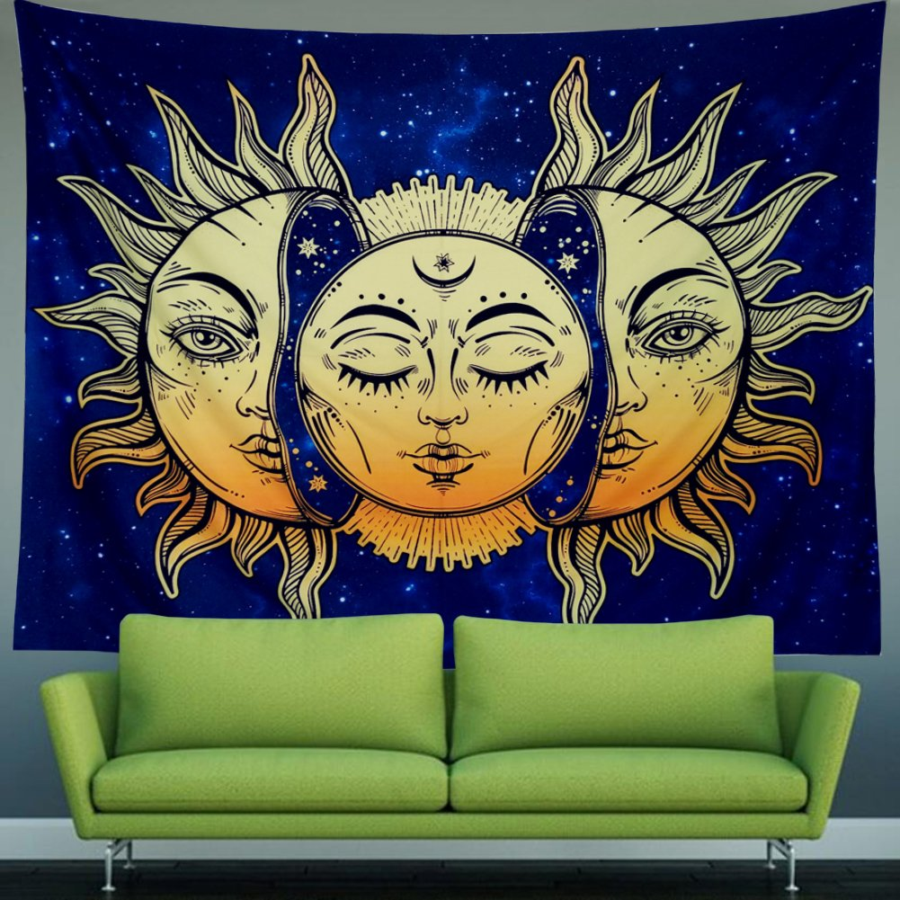 Amonercvita Psychedelic Tapestry Moon and Sun Tapestry Wall Hanging India Hippie Hippy Bohemian Tapestries Starry Sky Wall Tapestry Fractal Faces Mystic Tapestry for Bedroom Living Room Dorm by Amonercvita (Image #4)