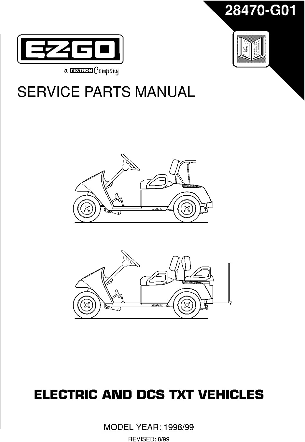 amazon.com : ezgo 28470g01 1998-1999 service parts manual for txt electric  golf vehicles : garden & outdoor  amazon.com