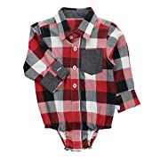 RuggedButts Baby/Toddler Boys Red, White and Black Plaid Button-Up Bodysuit - 3-6m
