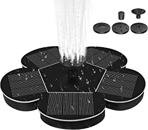 Frebw Solar Powered Bird Bath Fountain Pump with 4 nozzles, Free Standing Outdoor Submersible Fountain Panel Kit for Pond, Pool, Patio, Garden (AS72A1 (meihua)-1.5W)
