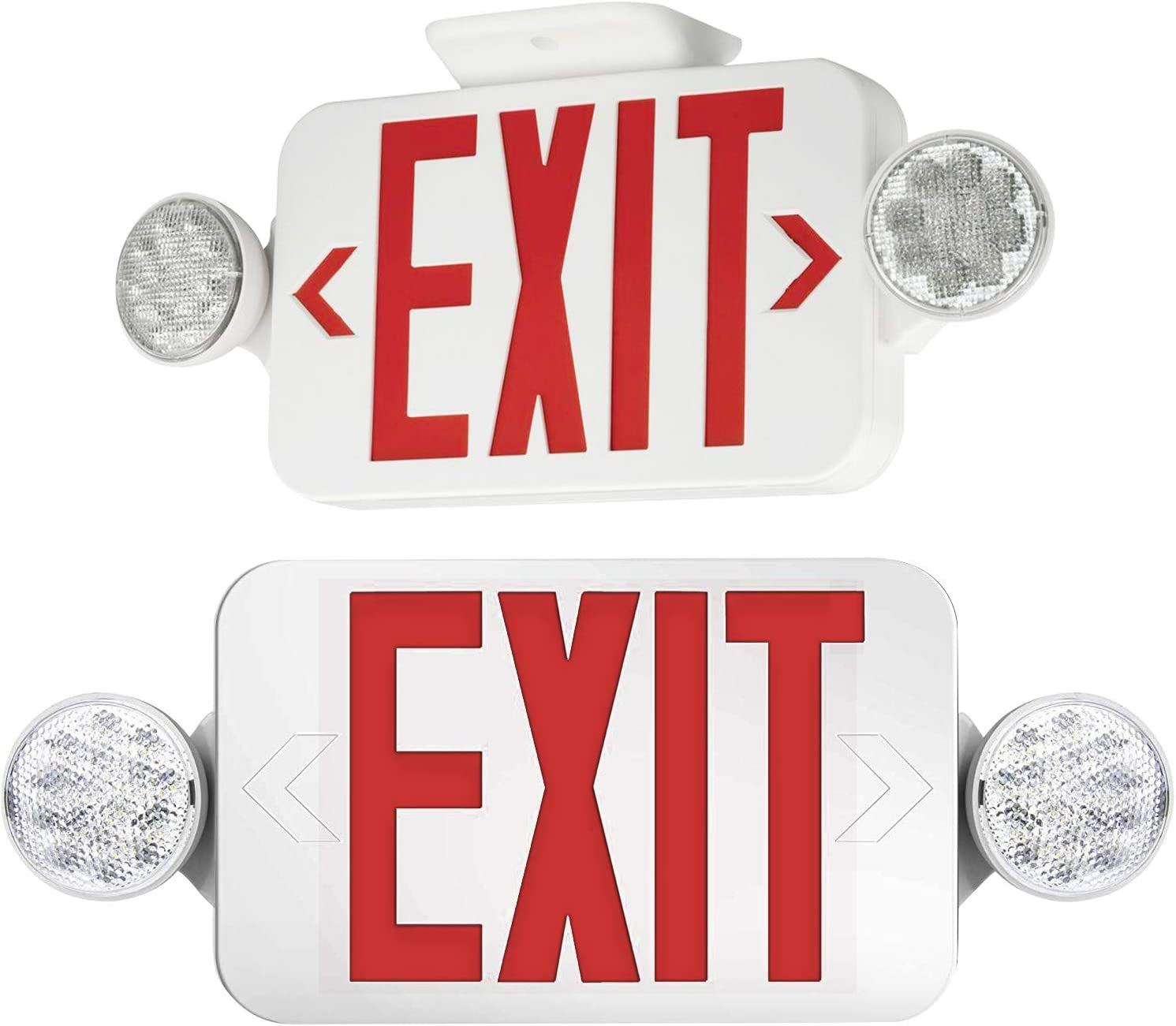 【2 Pack】Ul Certified Exit Sign mit Emergency Light rot Exit Compact Combo Hardwired hoch Output