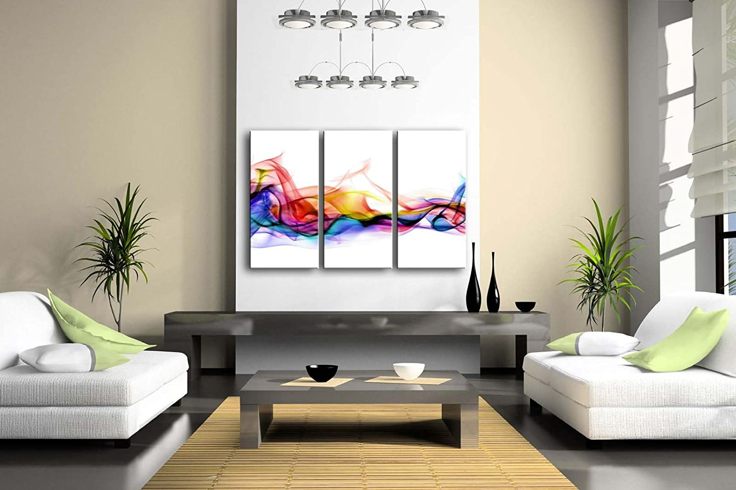 3 Panel Wall Art Fresh Look Color Abstract Smoke Colorful White