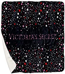 Victorias Secret Blanket Fashion Show Sherpa Black Stars Print Large