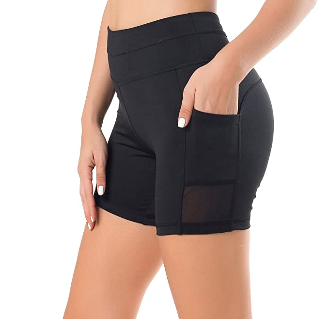 89cc3139c274f Sudawave Womens Mesh Shorts Workout Yoga Pants Running with Side Pocket  (Small