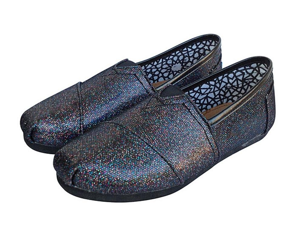 Playworld Womens Classic Sequin Slip On Shoes Ballerina Ballet Flats Loafers B01BS509F6 6 B(M) US|Black1
