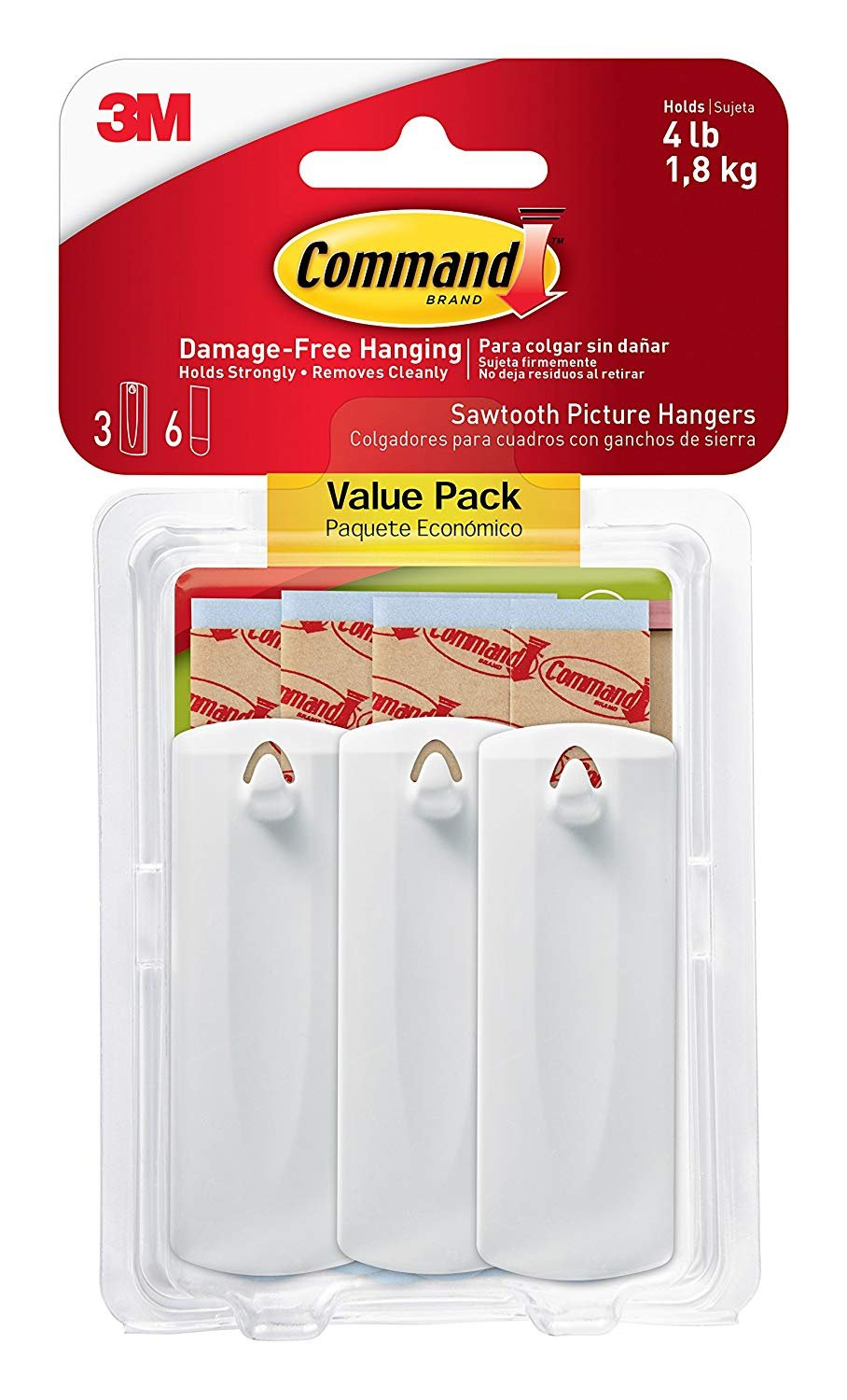 Command Sawtooth Picture Hangers Value Pack, White, 3-Hangers (17042 ...