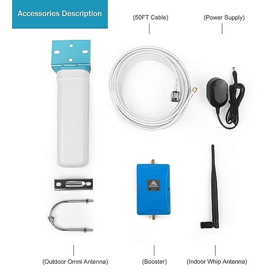 Amplificador de señal LTE 4G 70db de teléfono repetidor de cierre automático de Señal Teléfono Celular Kit portátil repetidor (800/2600-Band 20/7): ...